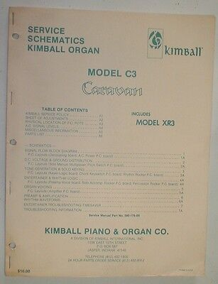 Kimball C3 XR3 Caravan Organ Service Repair Manual Schematics Supplement