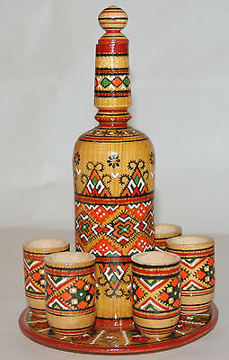 Gorgeous Wooden Mexican Designed Decanter and 6 shot glasses, 1 tray, Brand New