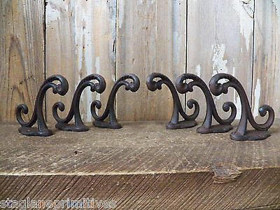 Lot 6 Antique-Style Double Rustic School COAT HOOK Cast Iron Wall Mount Hardware