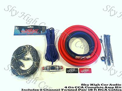 Oversized 4 Ga AWG Amp Kit w/ Twisted RCA Red Black Complete Sky High Car Audio