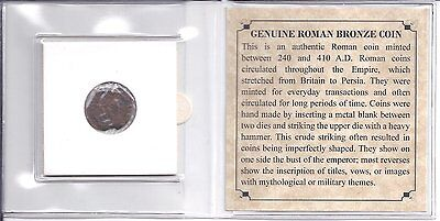 1 Ancient Imperial Roman Empire Bronze Coin 240 - 410 A.D. w COA Rome Authentic