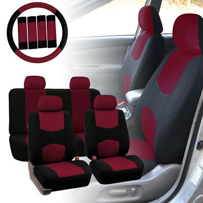 Car Seat Covers for Auto Burgundy w/ Steering Wheel/Belt Pads/4 Headrests