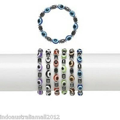 6 X Evil Eye Protection Charm Beads Bracelet Mixed Color(H20-2768JE)