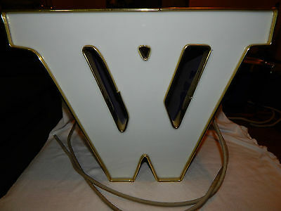 "Vintage Sign Letter ""W"" - Neon Light Box 12"" needs to be direct wired purple box"