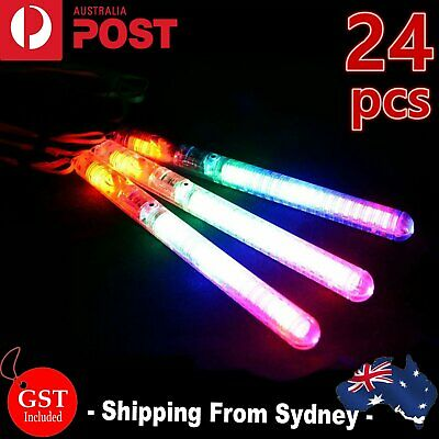 24X LED Light Flashing Wand Stick Colour Changing Glowsticks Party Glow in dark