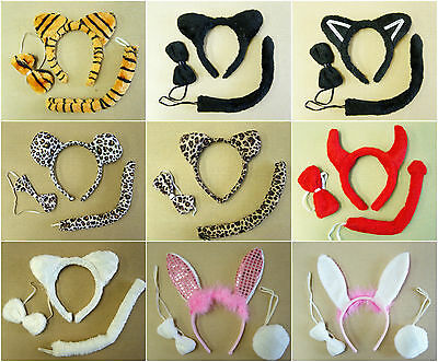 Animal Dress Up 3-PCs Sets Ears Tails Ties Kids Adults Fancy Party Accessory