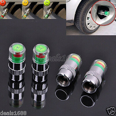 4PCs Car Auto Tire Pressure Monitor Valve Dust Cap Indicator Sensor Eye Alert