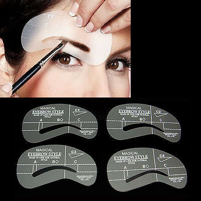 4Pcs Eyebrow Stencil Grooming Shaper Liner Template Make Up Shaping Tools