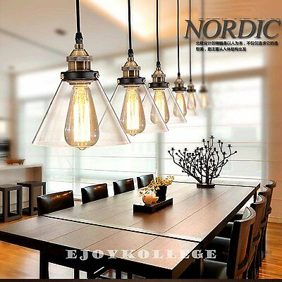 Pair of Contemporary Glass Shade Modern Industrial Ceiling Pendant Light Lamp