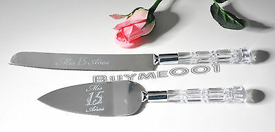 Mis 15 Knife And Server Set Silver Quinceanera 2 Pc Set Party Favors Item Cake
