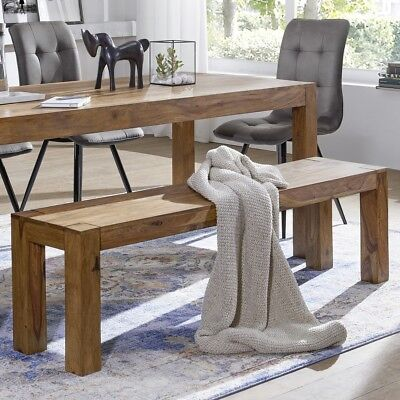 Wohnling Sheesham Solid Wood Dining Bench 160 X 35 Cm Seat Furniture New