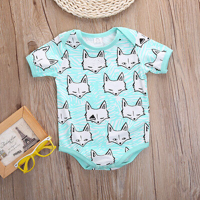 Infant Baby Girls Boy Clothes Fashion Fox Romper Bodysuit One-pieces Outfits