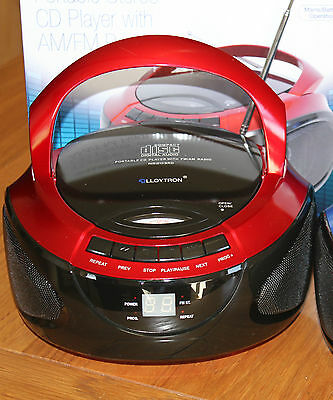 LLOYTRON N8203RD Portable Stereo CD Player with AM/FM Radio in Red
