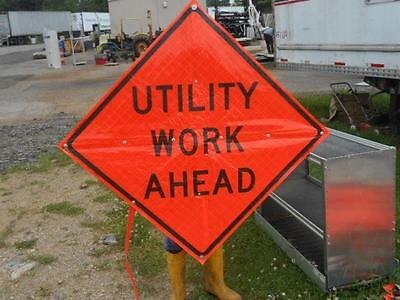 """Eastern Vinyl Roll-Up Street Safety Sign *utility Work Ahead* 48""""x48"""""""