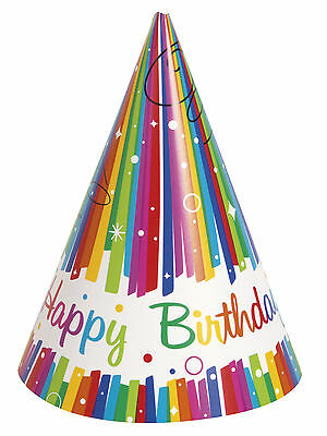 8 x Birthday Party Rainbow Ribbons Cone Shaped Paper Hats