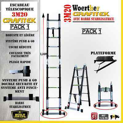 Escabeau 3 Fonctions Woerther - Grafitek 3M20/1M60 - Pack 1 ( + Plateforme)
