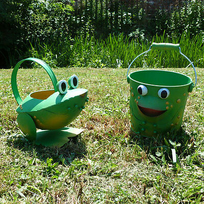 Childrens Frog watering can and bucket Childrens Gardening