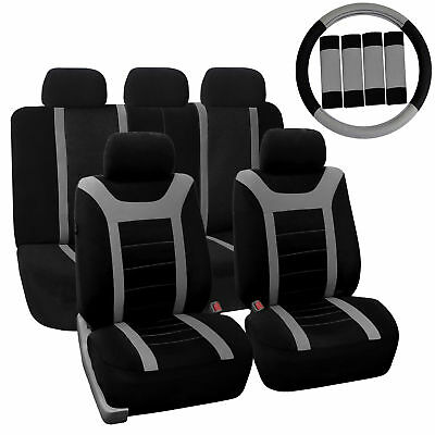 Car Seat Cover for Auto Full Set w/Steering Wheel Cover/Belt Pads/5heads Gray
