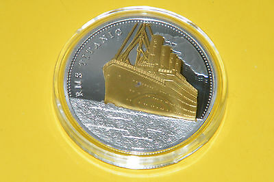 Titanic Coin Cruise Ship Gold & Silver Plated Commemorative Token+BP TICKET NEW!