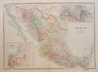 Huge 1886 Mexico Map - Beautiful Colors - Railroads & Much More
