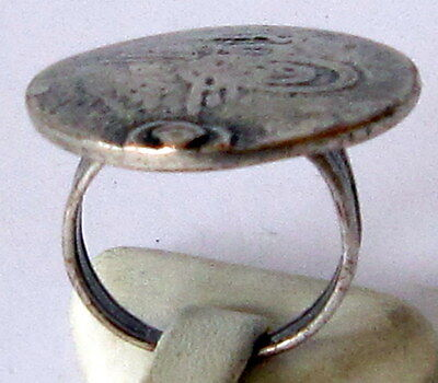 Excellent Early 20Th Century Silver Plated Ring With Copy Of Turkish Coin # 571