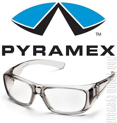 Pyramex Emerge Gray Frame Clear Lens Safety Glasses Motorcycle Shatterproof Z87+