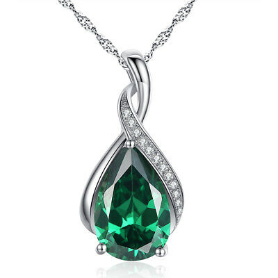"925 Sterling Silver Pear Cut Created Emerald Gemstone Pendant Necklace 18"" Chain"