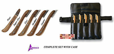 AARONCO Sam Kohl Stripper Stripping Carding Knives 5 KNIFE SET&Case DOG Grooming