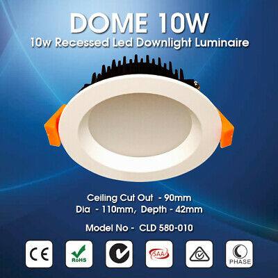 DOME 10W  IP44 Recessed  Dimmable  LED Downlight Luminaire 90mm Ceiling Cutout