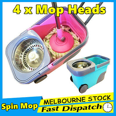 360° Spinning Stainless Steel Wheels Spin Bucket Magic Dry Microfibre Mop Heads