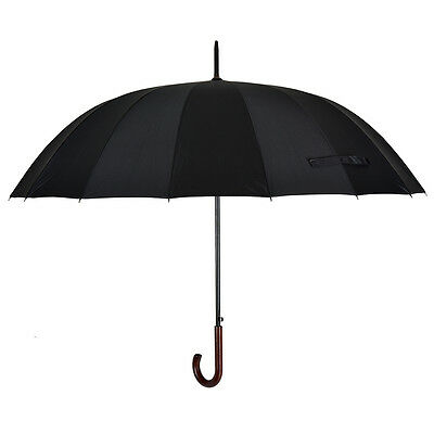 54 Inches Classic Style Auto Open Durable Umbrella with 16 Ribs,Bent Handle