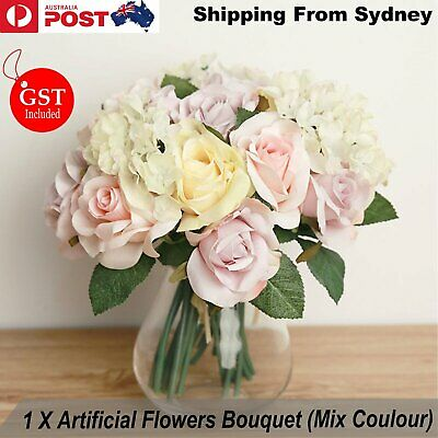 New 1X Bouquet Artificial Flowers Mix Coulour Silk Wedding Bridal Party Deco DIY