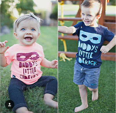 Kids Baby Boy Girls Toddler Novelty Short Sleeve Letter Tee T-shirt Clothes 2-7Y