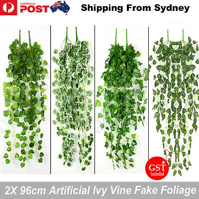 2X 96cm Artificial Ivy Vine Fake Foliage Flower Hanging Leaf Garland Plant 9 AU