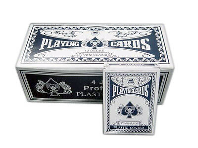 12 Deck of Professional Plastic Coated Playing Cards Poker Size - Red or Blue