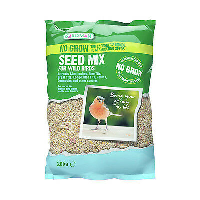 Gardman No Grow Seed Mix 20KgWild Birds Food Care Garden Outdoor Feeder Oil Rich