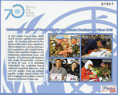 Bhutan 2015 MNH UN United Nations 70 Years Peace Security Developm 4v M/S Stamps