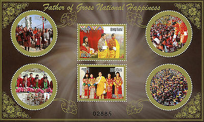 Bhutan 2015 MNH Father Gross Nat Happiness 6v M/S King Wangchuck Royalty Stamps