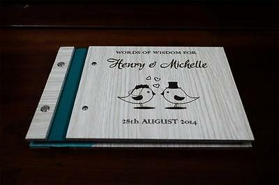 Wedding party wooden customised guest book, photo album unique rustic a5 size