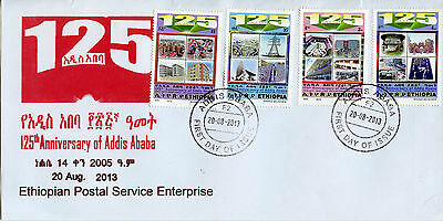 Ethiopia 2013 FDC Addis Ababa 125th Anniv 4v Set Cover Buildings Stamps