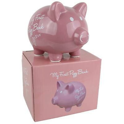 New GIRLS PINK Ceramic My First Piggy Bank Money Box by Leonardo Gift Boxed Cute
