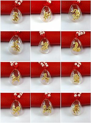 Fashion classic zodiac gold crystal pendant Red Rope Necklace