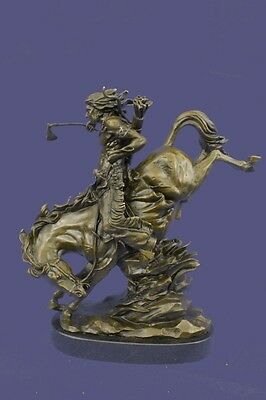 Native American Indian Warrior on Horse Signed Original Bronze Sculpture Statue