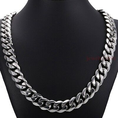 """Top 316L Stainless Steel Heavy Link Silver Curb Cuban Chain Men Necklace 8""""-40"""""""