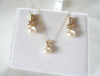 SET- Pearl Solitaire & White Sapphire 14K Gold Necklace & 10K Gold Earrings