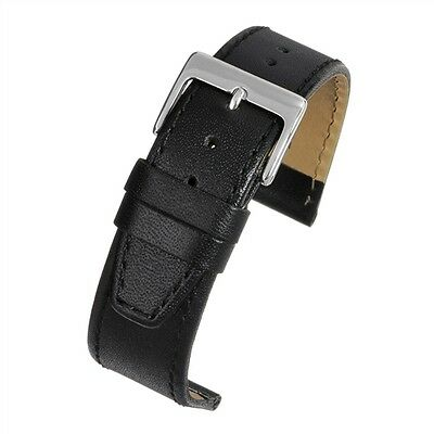 Black Genuine Leather Watch Strap Band Sizes 18, 20, 22mm