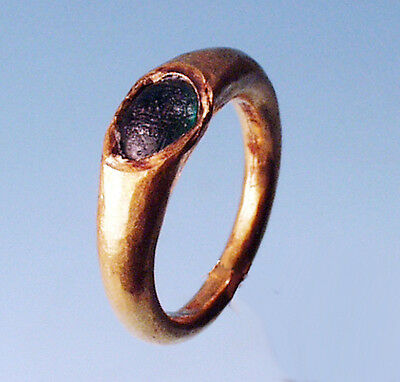 Roman Gold Ring with Green Glass Inlay - Ancient Art & Antiquities