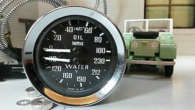 Land Rover Series 1 86 88 107 Smiths Dual Oil Pressure Water Temperature Gauges