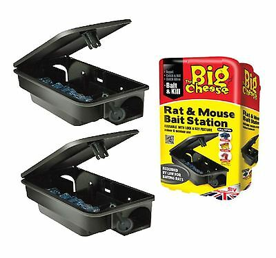 2 x STV THE BIG CHEESE PROFESSIONAL RAT & MOUSE BAIT STATION  KILLS RATS MOUSE