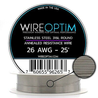 SS 316L - 26 AWG Stainless Steel Wire 316L 0.40mm - 25'